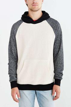 BDG Speckled Colorblocked Pullover Hooded Sweatshirt