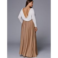 Chic Long Sleeve Plus Size Maxi Dress (COFFEE,2XL) in Dresses | DressLily.com