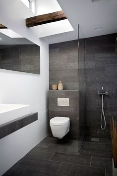 Modern Small Bathroom Design With Ceramic Floor Tile And Wall Mounted  Toilet And Walk In Shower With Wooden Floor And Wall Art And Vanity : Modern  Small ...