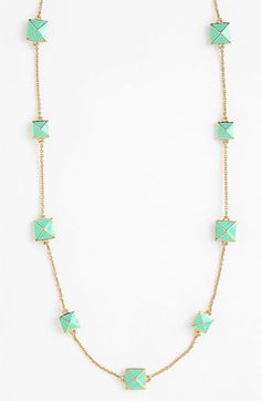kate spade new york 'locked in' long pyramid necklace in light pink/gold Mint Necklace, Kate Spade Necklace, Jewelry Box, Jewelery, Jewelry Accessories, Mint Gold, Mint Green, Classy And Fabulous, Diamond Are A Girls Best Friend