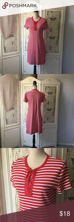 """CHAPS Striped Lace Up T-Shirt Dress iSz L CHAPS Striped Lace Up T-Shirt Dress in Yacht Red Sz L.  100% cotton.  Measures 36"""" in length. Bust approx. 34"""", Waist approx. 33"""", Hips approx. 36"""".  #lisamariesvibe #chaps #stripes #vacation #boat #vacation #cruise #hamptons #yachtred #redandwhitestripe #nautical #summer #cute #tshirtdress #fun #flirty Chaps Dresses"""