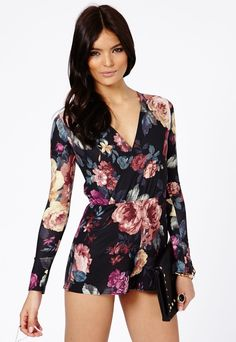 Missguided Gilina Wrapover Floral Romper In Multi on shopstyle.com