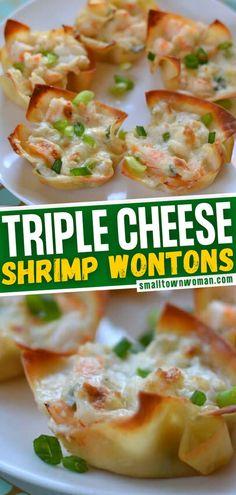 Wonton Appetizers, Shrimp Wonton, Fancy Appetizers, Wonton Recipes, Seafood Recipes, Appetizer Recipes, Shrimp Dip, Cooking Recipes, Christmas Appetizers