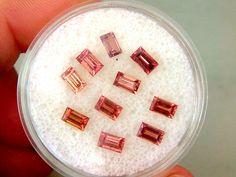 Padparadscha Sapphire Baguette Loose Gemstone Lot 10 Stones 3.80cttw 5 x 3mm Gem…