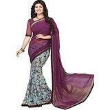 Kesu Fashion Women's Printed Saree In Georgette Fabric (ZHAY17076) Purple And Sea Blue Price: INR 595 | India