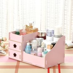 Maquillage organisateur cosmétique en bois solide bonbons couleur cas de stockage insérez Holder Box affichage tiroir rouge à lèvres vernis à ongles boîte de maquillage