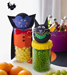 Turn clear glass jars into your favorite Halloween ghouls, then fill them with candies and see who can guess how many morsels are inside.
