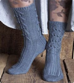 Free Knitting Pattern - Adult Slippers & Socks: Cable and Bobble Socks