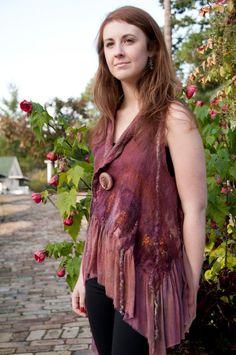 Colors of Fall Baby Doll nuno felt vest by PattiBarker on Etsy