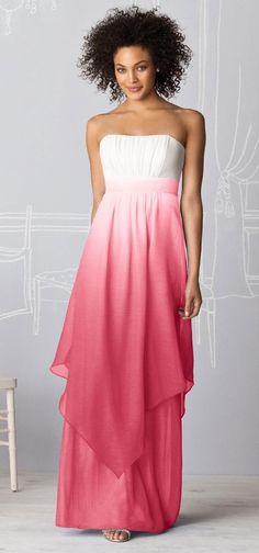 Ombre wedding attire.  Great Bridesmaids dress.