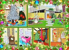 Get into the holiday season early. Be among the first to enjoy this Holiday Classic mid century modern Christmas jigsaw puzzle Modern Christmas Decor, Vintage Christmas Cards, Retro Christmas, Vintage Holiday, Vintage Cards, Christmas Brunch, White Christmas, Christmas Past, Christmas Images