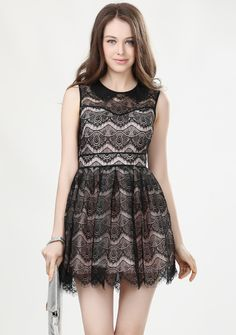 Black Sleeveless Zipper Embroidery Flare Lace Dress