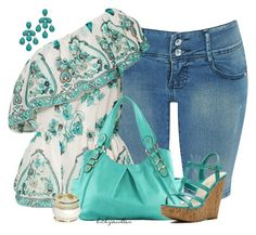 """""""Mint/Teal One Shoulder Top"""" by bitbyacullen ❤ liked on Polyvore featuring VILA, Roberta Chiarella, ALDO, De Blossom and Wet Seal"""