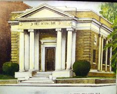 Pell City: First National Bank on Cogswell Ave--later became Union State Bank.think it burned. Was located on the corner where the log building is now. Pell City Alabama, State Of The Union, Corner, Mansions, History, House Styles, Building, Buildings, Luxury Houses