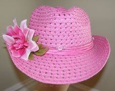 My first Rodeo Wedding!!  Pink Cowboy Hat Crystal Look Beads  Need a Veil by Nicholettes, $22.95