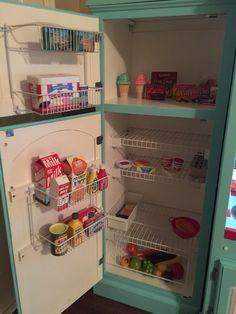 Inside refrigerator and freezer. Inside refrigerator and freezer. Ikea Play Kitchen, Toy Kitchen, Play Kitchens, Diy Kids Kitchen, Cubby Houses, Play Houses, Girl Room, Girls Bedroom, Kids Furniture