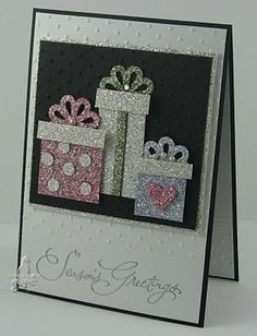 Love bling? You will love this super sparkly handmade Christmas card featuring 3 shiny gifts.