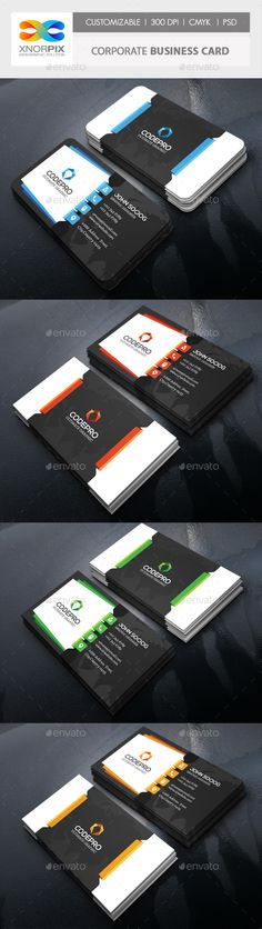 Corporate Business Card - #Corporate #Business #Cards Download Here: https://graphicriver.net/item/corporate-business-card/19244103?ref=suz_562geid