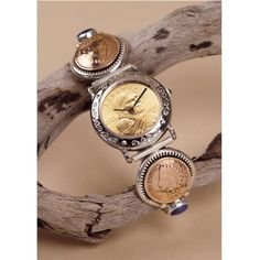 Sterling Silver Sacagawea Coin Cuff Watch with 2 Indian Cents and Lapis Stones Coin Jewelry