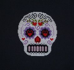 Hearts of Love Sugar Skull Cross Stitch Pattern
