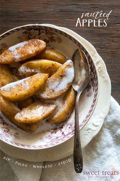 Sautéed Apples (AIP, Paleo Repairvite, Vegan) *make with pears* Whole 30 Dessert, Whole 30 Breakfast, Paleo Breakfast, Detox Breakfast, Simple Dessert, Whole 30 Diet, Paleo Whole 30, Whole 30 Recipes, Whole Foods