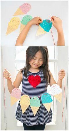 Plantilla descargable y gratuita para hacer esta bonita guirnalda de cucuruchos de helados #DIY #helados