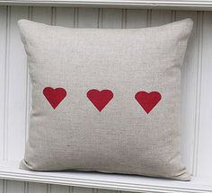 Red Hearts Linen Cushion