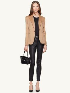 Camel-Hair Dabney Jacket - RalphLauren #womenswear #style #black #leather #pants #beige #blazer #outfit #fall #winter #autumn