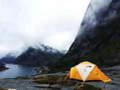 New day, new backyard. Lofoten, Norway, July 2015. #neverstopexploring #lofoten #norway #thenorthface #tent (more Lofoten pics on: http://bcj14.tumblr.com/tagged/lofoten)
