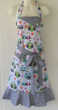 Cute Owl Apron  Colorful Owls  Women's Full Apron  by KitschNStyle