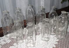 9 Antique Glass Baby Bottles for Baby Shower by andreasantiques