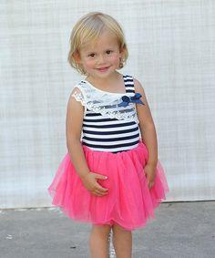 Hot Pink & Navy Stripe Tutu Dress - Toddler & Girls on #zulily *so flippin cute