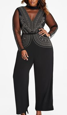 45b85da8e8e 13 Plus-Size Party Dresses Perfect for New Year s Eve. Embellished front  jumpsuit by Ashley Stewart