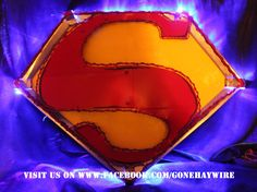 Blue lighted Superman sign Superman Room, Wire, Signs, Random, Shop Signs, Casual, Sign, Cable