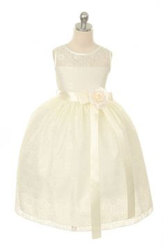 Flower Girl Dress Style 272 - Sleeveless Lace Dress with Floral Detail in Choice of Color
