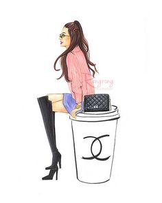 Fashion illustration of a fashionista is sitting a cup of Chanel coffee. Great…
