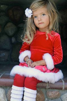 Red Leggings with White Cascading Ruffles