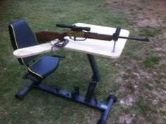 Shooting Bench from recumbent exercise bike. Recumbent Bicycle, Recumbent Bike Workout, Shooting Bench Plans, Air Rifle, No Equipment Workout, Drafting Desk, The Great Outdoors, Wood Projects, Stationary