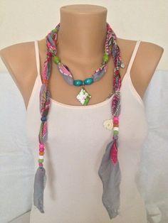Jewelry Scarf Scarf Necklace Grey Bohemian Beaded by MaxiJoy, $12.00
