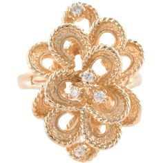 Estate Fine Jewelry Estate Gold & Diamond Flower Cocktail Ring ($925) ❤ liked on Polyvore featuring jewelry, rings, no color, cocktail rings, 14 karat gold ring, flower diamond ring, round cut diamond rings and statement rings