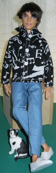 Homemade Doll Clothes-Pretty Solid Dark Green Shirt that fits Ken Doll B8