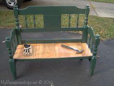 green headboard bench