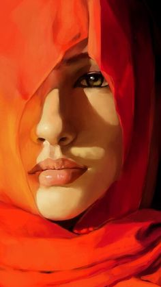 Wrapped in Mystery: fine art painting of a woman in a hijab by Nabih Safadi Painter