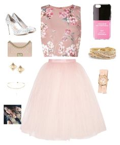 """Rose gold"" by queenshaima ❤ liked on Polyvore featuring Miss Selfridge, Ballet Beautiful, Iphoria, Torrid, Michele, Miu Miu, Chanel and Valentino"