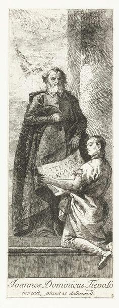Giovanni Domenico Tiepolo | Heilige Hieronymus Aemilianus met knielende jongen, Giovanni Domenico Tiepolo, 1748 - 1752 |