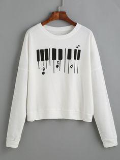 Sweatshirt mit Klaviertastatur Druck - schwarz- German SheIn(Sheinside)