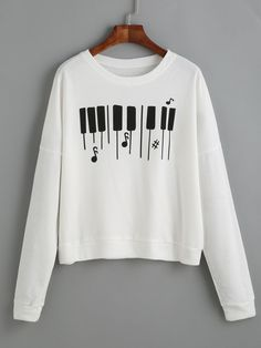 White Piano Keyboard Print Drop Shoulder Sweatshirt — 9.47 € ----color: White size: one-size