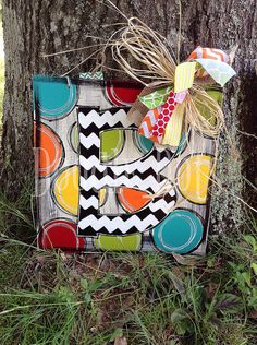 Chevron Initial Door a Hanger w/ Dots by DoOdLeDotsAnDmOre on Etsy, $30.00