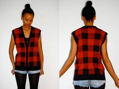 Vtg Red & Black Plaid Lumber Jack Knitted Slouchy by LuluTresors, $27.99
