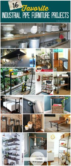16 Favorite Industrial Pipe Furniture Projects - thanks for the feature @Sharon B. {Lilikoi Joy}